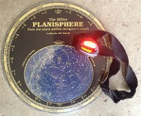 headlamp with red filter, and planisphere