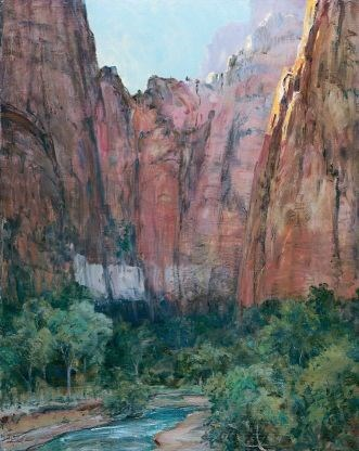 """Late Afternoon In Zion Canyon"", painted by Howard Russell Baker, 1926, Oil on canvas Zion Museum Collection ZION 14581"