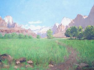 """Zion Canyon"", 1903, by Frederick S. Dellenbaugh, 1903 Oil on canvas, Zion Museum Collection ZION 38105"