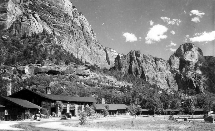 The Zion Lodge nestled in Zion Canyon.