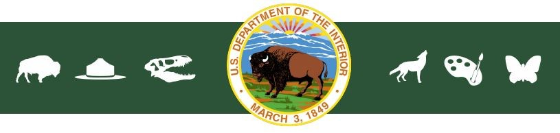Department of Interior logo, with green bar