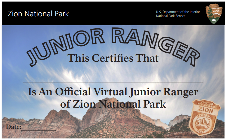 Certificate with image of Zion in the background, black bar on top, and inset image of Junior Ranger badge