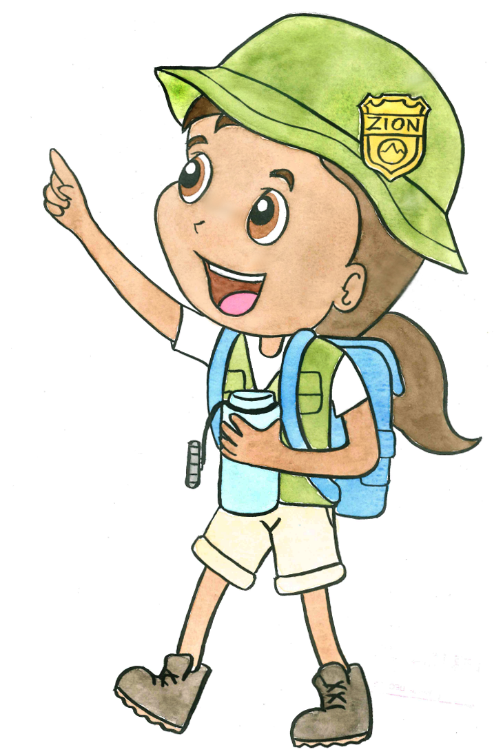 Drawing of kid with backpack and water bottle.