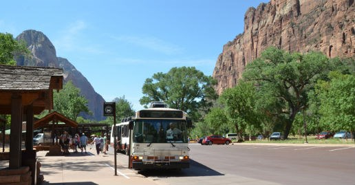 Shuttle bus in Zion Canyon