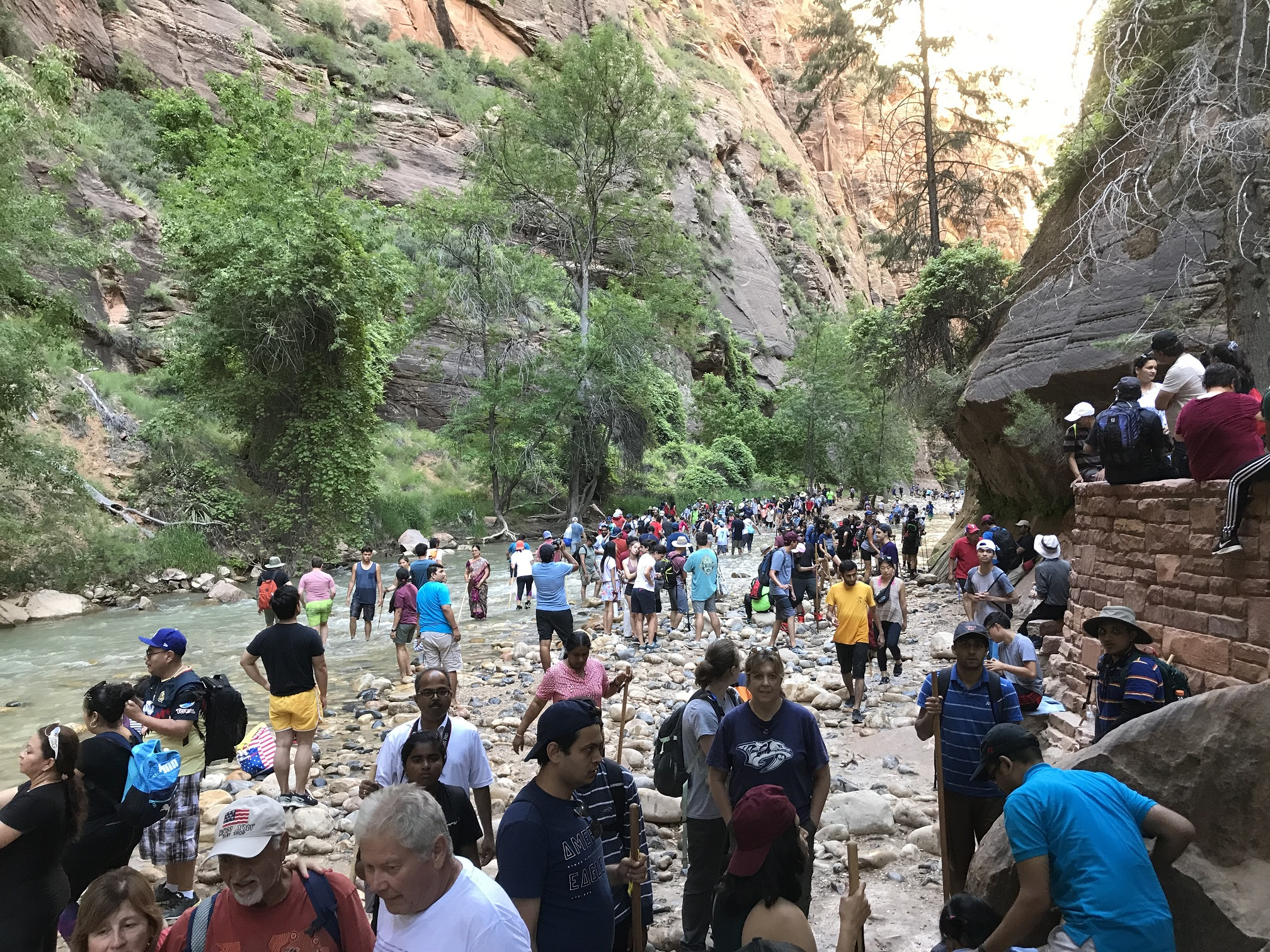 Hundreds of people walk in a river surrounded by steep canyon walls