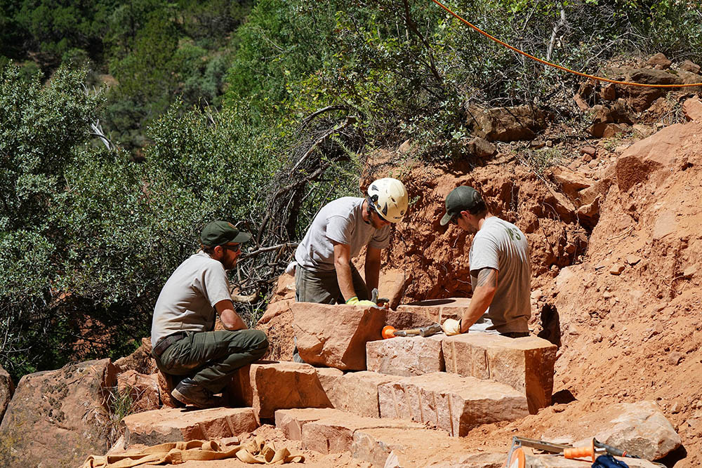 Zion Trail Crew building steps on the Kayenta Trail