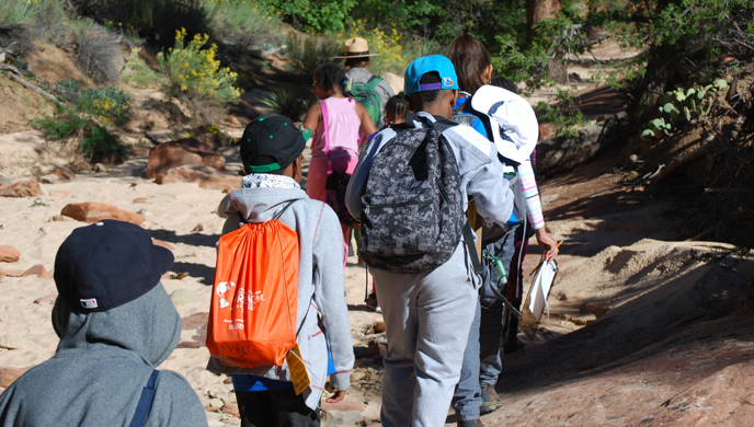 Las Vegas kids hike with a ranger in Zion National Park.