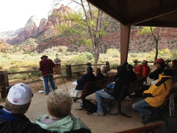John Cogan Acrylic Paint Demonstration at Zion Plein Air Invitational