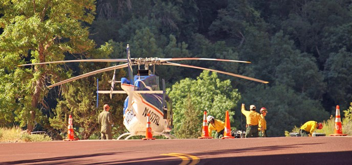 A helicopter and crew staging at Big Bend.