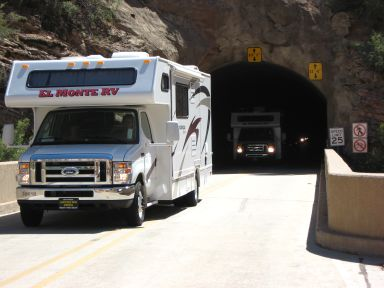 Oversized vehicles exit the Zion Mount Carmel Tunnel near the Canyon Overlook Trailhead