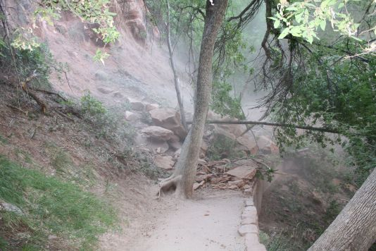 Rockfall on Weeping Rock Trail