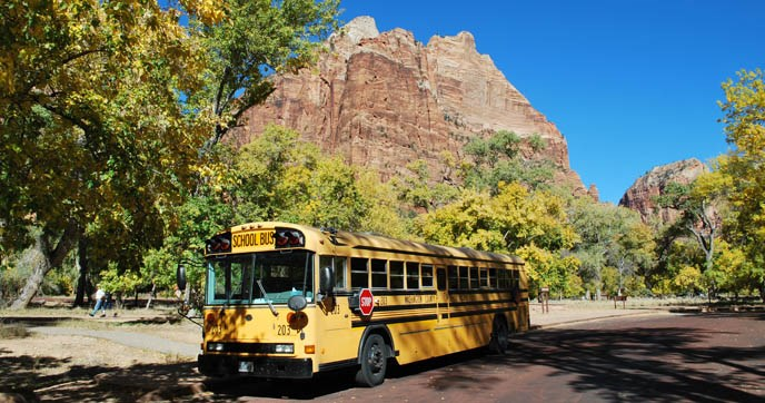 A school bus in Zion Canyon.