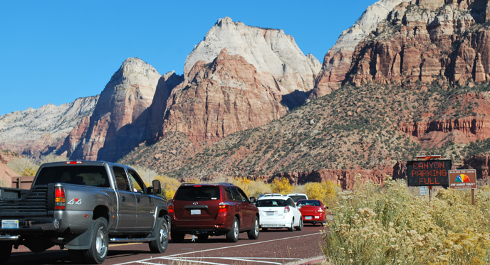 Traffic backed up at the entrance to Zion National Park.