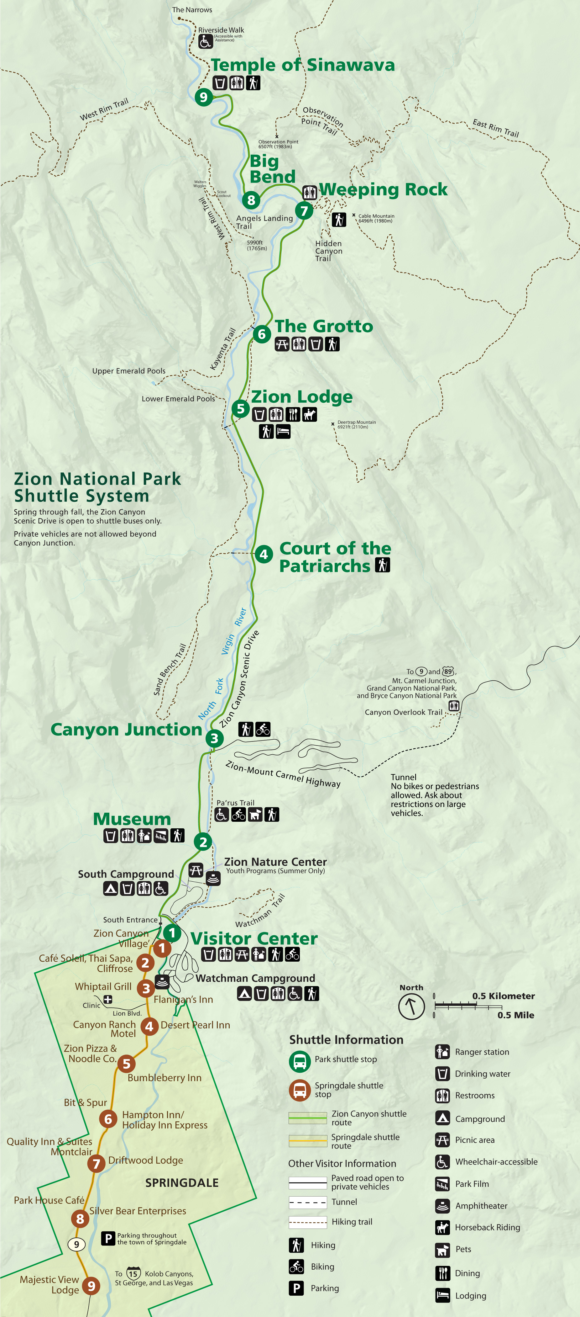 zion canyon on a map